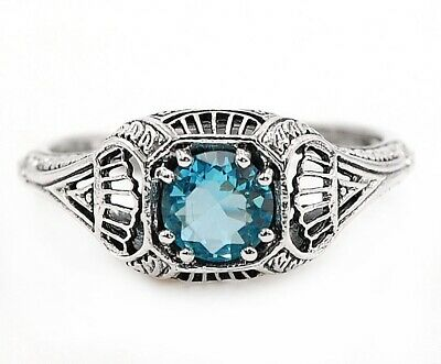 1CT Aquamarine 925 Solid Sterling Silver Vintage Style Ring Jewelry Sz 6, FL4