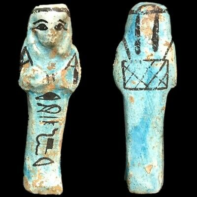 EGYPTIAN HIEROGLYPHIC SHABTI, LATE PERIOD 664 -332 BC (17) LARGE OVER 9 cm TALL