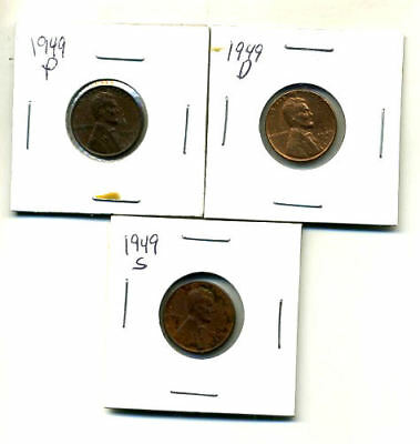 1949 P,d,s Wheat Pennies Lincoln Cents Circulated 2X2 Flips 3 Coin Pds Set#116
