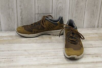 a9fb00e6 ECCO WOMEN'S BROWN/ Gold Casual Suede Leather Walking Sneakers Sz 41 ...