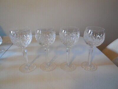 Four  Waterford Lismore Cut Crystal Wine Hock Goblets, Stems, 7 3/8, old mark