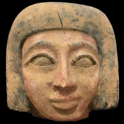 BEAUTIFUL ANCIENT HUGE EGYPTIAN WOODEN BUST 300 BC (1) 15cm TALL !!!!!