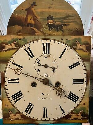 English Antique Grand Father Clock Movement & Dial. Hand Painted Field Sports