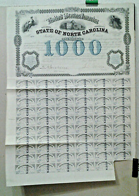 Obligation De 1000 $  State Of North Carolina 1869 Amarique Usa Etats Unis