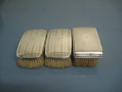 Three Silver Gents Hair Brushes Two Chester 1927&birmingham 1936 Scrap Or Resell
