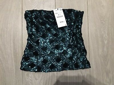 50c726059f NEW 💚 Zara Size XS Dark Green Sequin Tube Top Strapless Sparkly Night Out