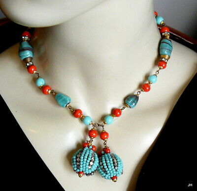 GORGEOUS VTG RED TURQUOISE ART GLASS BEAD WIRED RHINESTONE LARIAT NECKLACE 52g!