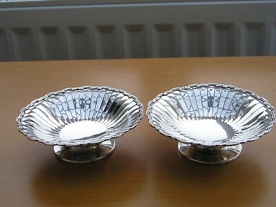 Attractive Pair George V  Solid Silver Sweetmeat Stands Dishes. 196 Grams