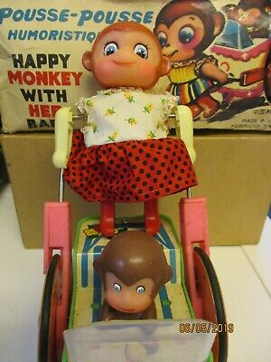Vintage Happy Monkey With Her Baby Toy, Sold As Project.