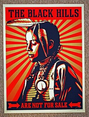 Shepard Fairey/Obey- Black Hills Not For Sale-S/N-Native American-w, Banksy pic