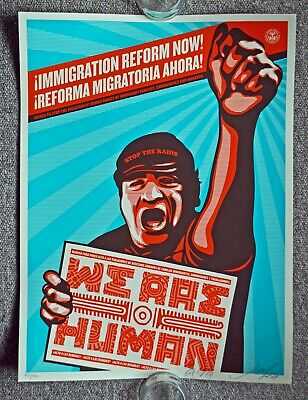 Shepard Fairey/Obey Giant/Yerena- We Are Humans Protest-S/N print-w, Banksy pic
