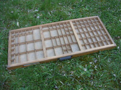 Vintage Printers Type Case / Tray. 36 cm x 82 cm with Brass Crosses on  Joins