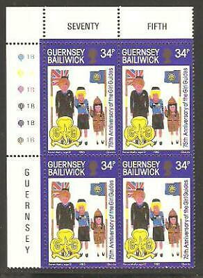 GUERNSEY 1985 75th Anniversary GIRL GUIDES Brownies PLATE BLOCK