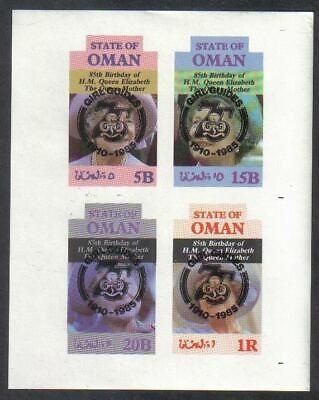 OMAN STATE 1985 Queen Mother GIRL GUIDES 75th Anniv BLACK OP IMPERF Minisheet