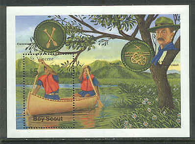 ST VINCENT 1989 BOY SCOUTS Canoe BUTTERFLY BADGE SS
