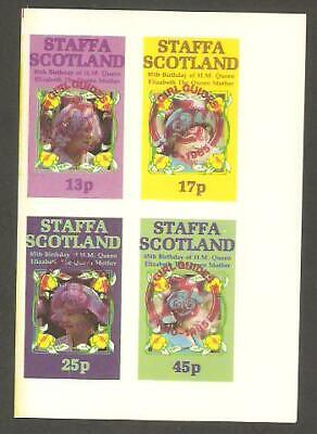 STAFFA 1985 Queen Mother GIRL GUIDES 75th Anniv RED OP IMPERF Minisheet