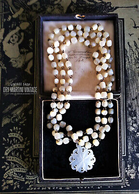 Antique Victorian Balamuti Mother Of Pearl Gemstone Necklace Bridal Religious