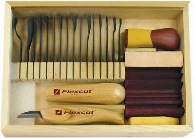 Flexcut SK108 Deluxe Starter Wood Carving Set 21 Piece Includes 16 Blades
