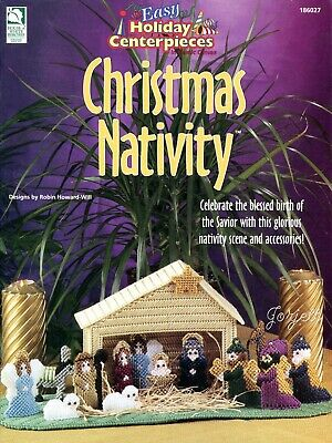 Christmas Nativity, Easy Holiday Centerpieces plastic canvas pattern booklet NEW