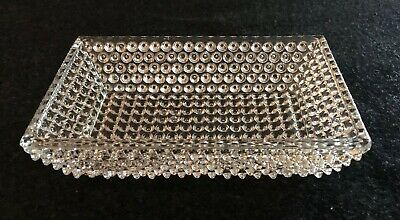 Vintage Hobnail Clear Glass Rectangular Candy Relish Jewelry Dish Antique