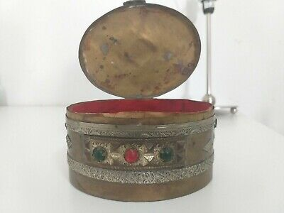 Rare Antique Andalusian Spanish 1900 Arts & Crafts Box Caddy Copper Wood Metal