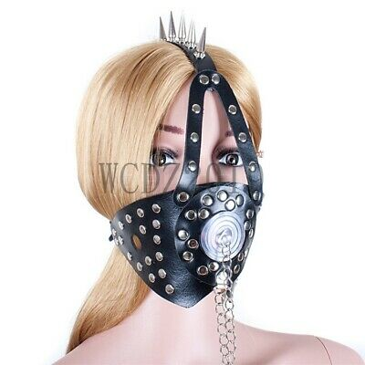 Spiked PU Leather Head Harness Mouth Gag Oral Plug Restraint Roleplay Slave SM