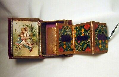 Antique Victorian Book Shaped Pull Out Needle Case Girls With Doll 3 Day Nr