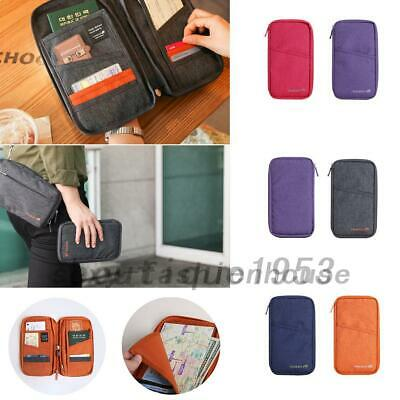 Family Passport Holder Document Organizer Travel Wallet Purse with Hand Strap