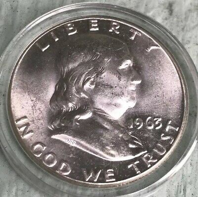 1963 PROOF FRANKLIN HALF DOLLAR WHITE COINS 50 c 90% SILVER
