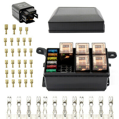 12-Slot Relay Box 6 Relays Slots 6 ATC/ATO Standard Fuses Holder Block with Y7W8