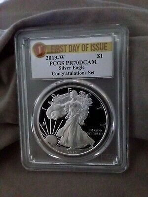 2019 W PROOF 1oz Silver Eagle CONGRATULATIONS SET PCGS PR70DCAM FDOI Label