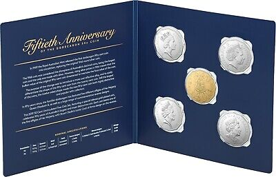 2019 Australia - 50th Anniversary of the 50c Coin - 5 Coin Unc Set with Gold
