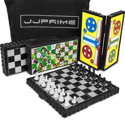 Set of 4 Magnetic Travel Board Games Ludo Snake and Ladders Draught Home + Pouch