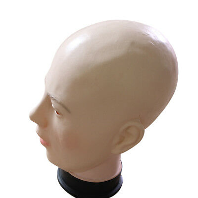 Realistic Woman Bald Head Full Face Latex Mask Halloween Props Cosplay Party Hot