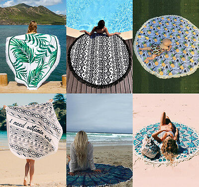 Round Mandala Indian Hippie Boho Tapestry Beach Picnic Throw Towel Mat Blanket Y