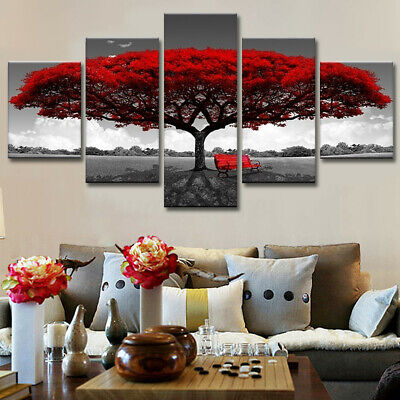 5pcs Modern Red Tree Canvas Oil Painting Wall Art Home Decor Picture Print Decor