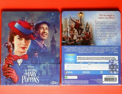 blu ray il ritorno di mary poppins, mary poppins returns steelbook metal box f v
