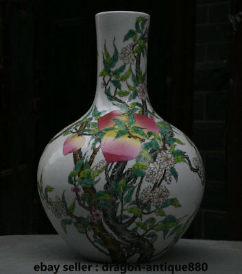 "16"" Marked Old Chinese Palace Famille Rose Porcelain Peach Flower Bottle Vase"