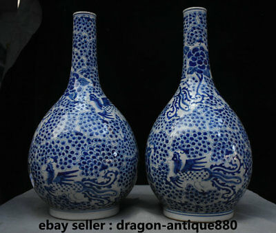 "16"" Old Chinese Blue White Porcelain Phoenix Birds Flower Bottle Vase Jar Pair"