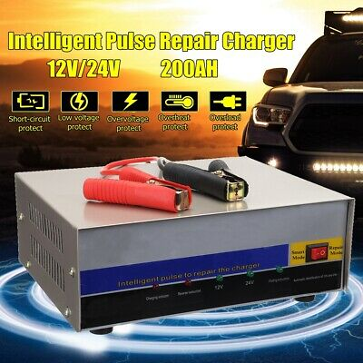 Car Battery Charger 12V 24V Automatic Intelligent LED Repair Lead Acid