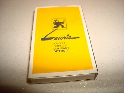 Rare Vintage Matches Match Box Lewis Artist Supply Co Detroit MI USA Original!