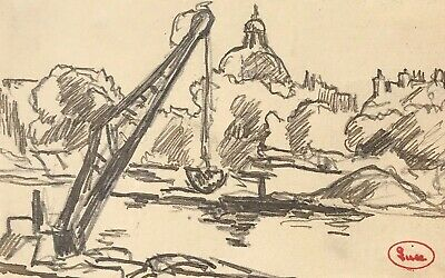 Maximilien Luce (1853-1941) Original Pencil Drawing - Atelier Stamped - River