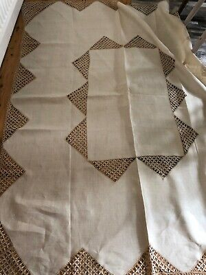 "Vintage Pure Natural Linen And Lace Table Cloth 72"" X 56"""