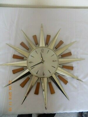 Vintage / Retro Metamec 60Cm  Sunburst/Sunburst Clock 1960'S (Fully Working)