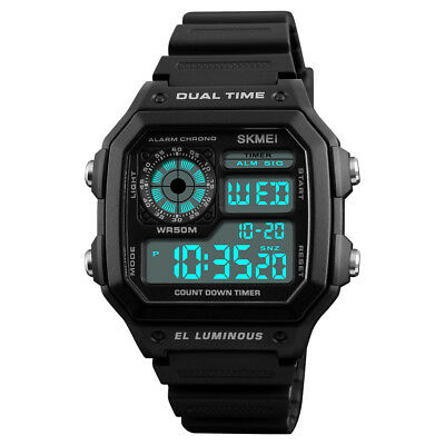 SKMEI Men's Military Two Time Digital Alarm Sport Timer Wrist Watch Chronograph