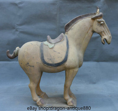 """16.8"""" Old Chinese Tang Sancai Ceramics Dynasty Palace Horse Steed Luck Sculpture"""