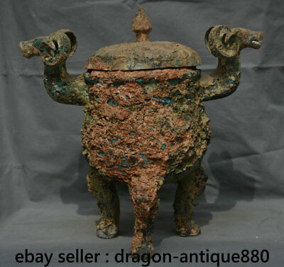 """16"""" Chinese dynasty Old antique Bronze Ware Vessel Sheep Head 3 Foot Pot Censer"""