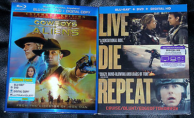 Sci-Fi Action Blu-ray DVD Lot - Cowboys & Aliens (Used) Edge of Tomorrow (New)