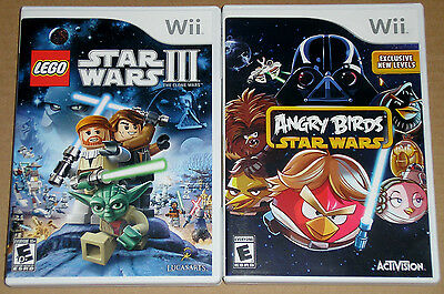 Nintendo Wii Game Lot - LEGO Star Wars III (Used) Angry Birds Star Wars (Used)