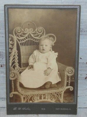 Antique Cabinet Card Photo Baby Sitting in Wicker Chair